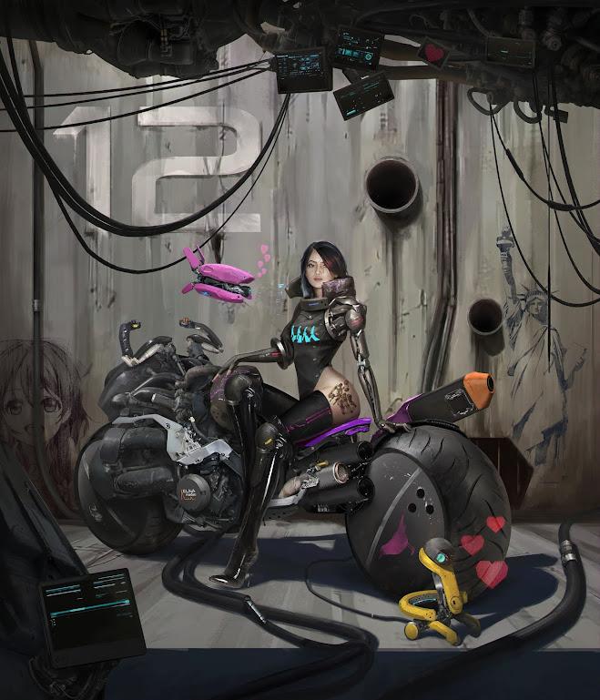 Cyberpunk Girl Biker by Dunhuang Chen