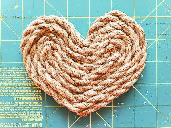 finished heart shaped coaster