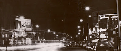 Coolidge Corner at night 1956