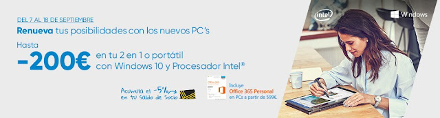 Top 10 ofertas Hasta -200 € en tu 2 en 1 o portátil con Windows 10 y procesador Intel de Fnac.es