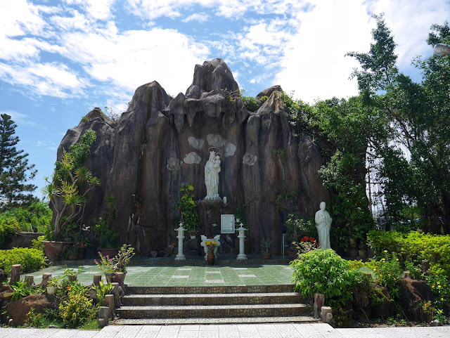 Marian grotto at the pink church in Da Nang