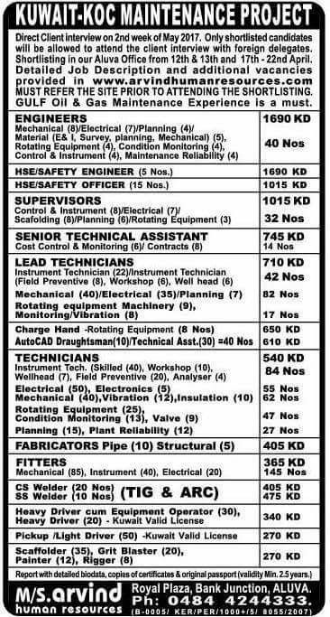Overseas Walkin Interview for Various post | 12th & 13th
