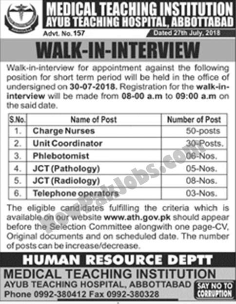 Walk in interview Jobs in Ayub teaching Hospital, Abbotabad (102 Vacancies)