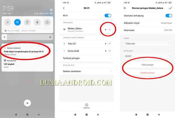 Menu ubah jaringan WiFi di HP Xiaomi