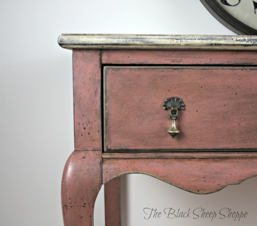 Desk with tear drop drawer pulls. Painted in Scandinavian Pink chalk paint.