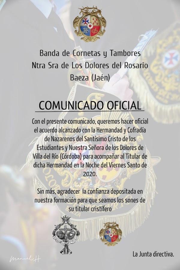 CC y TT Ntra. Sra. De los Dolores del Rosario de Baeza irá a Villa del Rio en el 2020