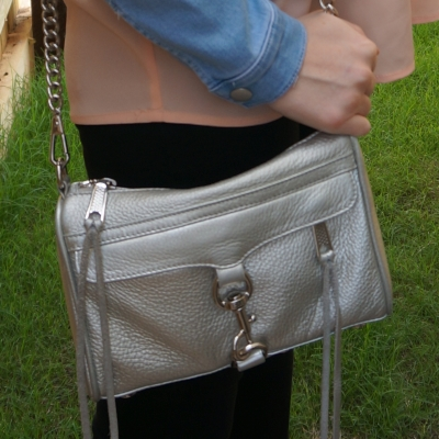 double denim with Rebecca Minkoff metallic silver mini MAC | awayfromthebluef