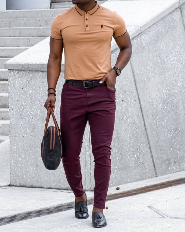 Beige and maroon combo outfit, men