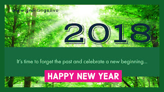 Go Green New Year Greetings 2018 in Green