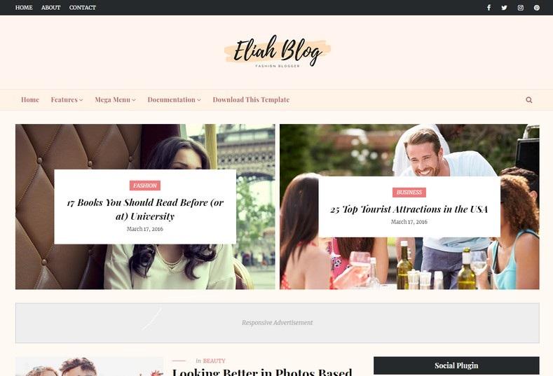 Eliah Fashion Blogger Template