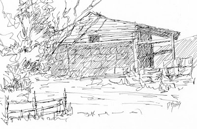 art sketch pen ink barn rural derelict