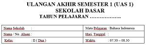 Soal UAS 1 2017/2018 Bahasa Indonesia Kelas 2 SD MI Dan Kunci Jawabannya