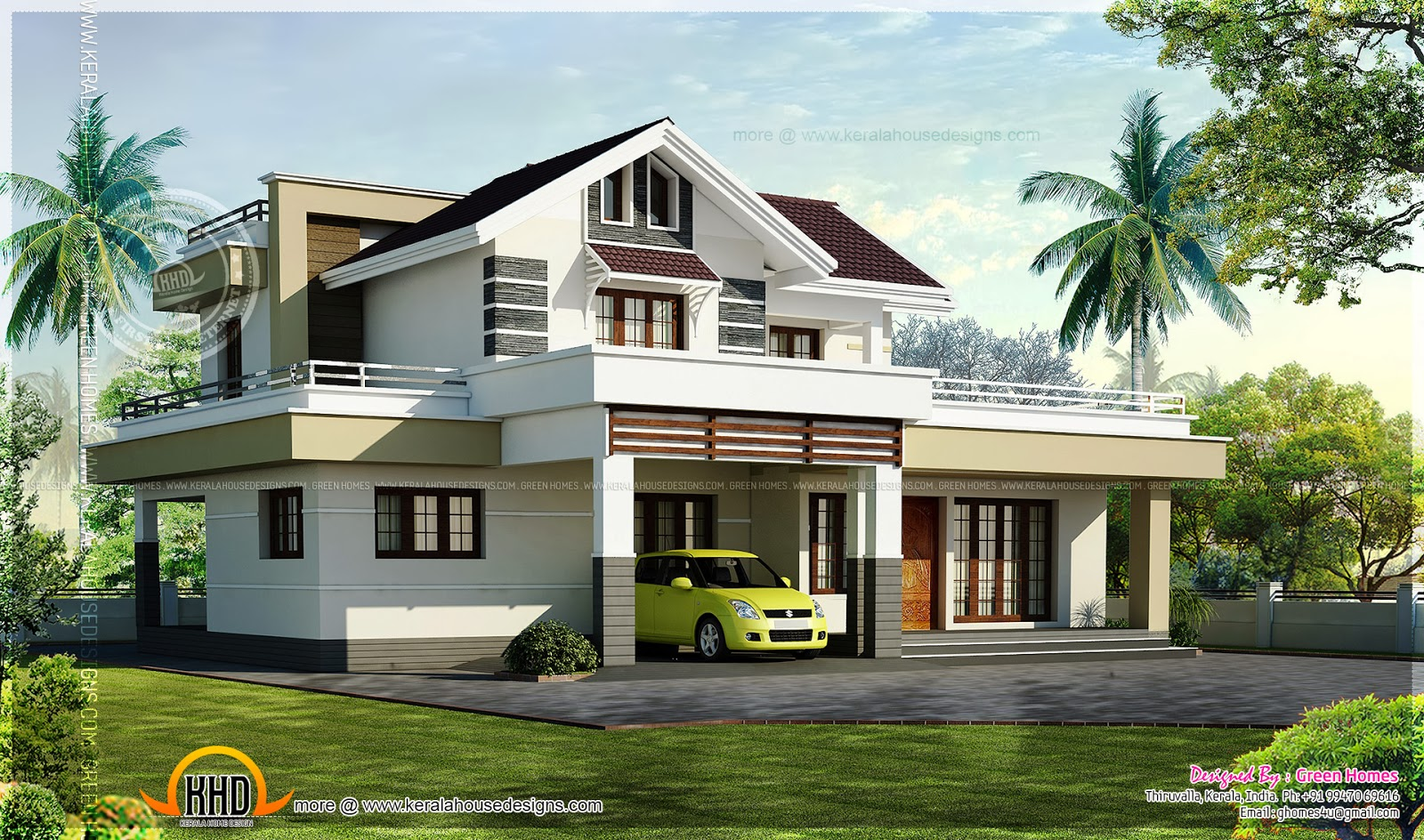 2200 square feet 3 bedroom house design kerala home for Square house design