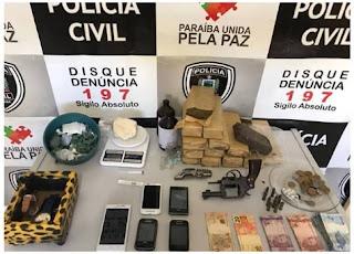 Operação da Polícia Civil em Picuí apreendeu grande quantidade de drogas