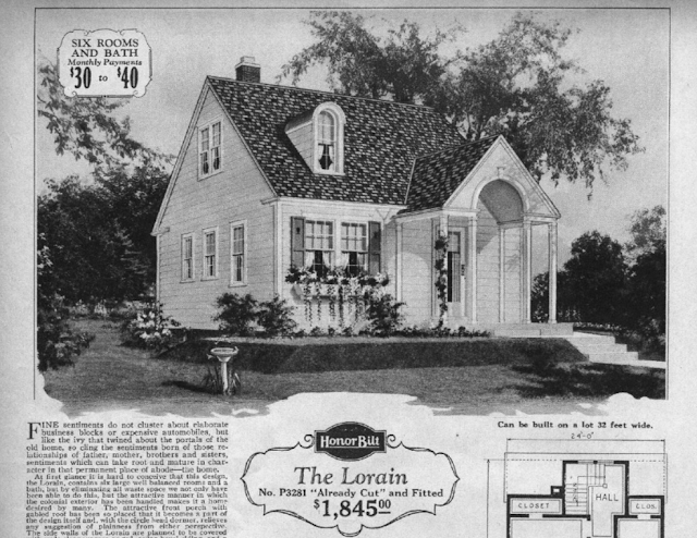 b&W image of Sears Lorain 1929 Sears Modern Homes catalog