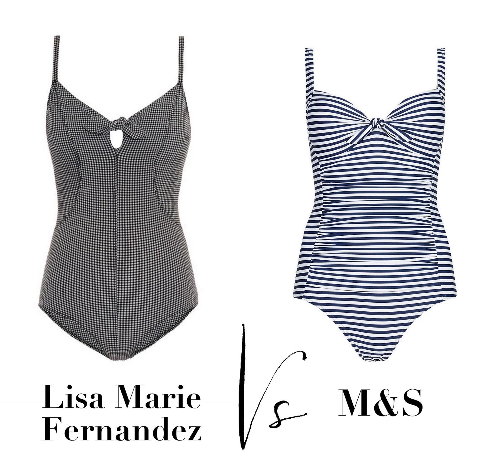 e594540b0a Lisa Marie Fernandez 'Poppy' swimsuit: £300, Matches Fashion. Striped  swimsuit, £26, Marks & Spencer