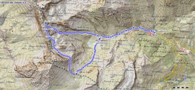 Mapa de la Ruta al Siete y los Castillilnes desde Tuiza de Arriba