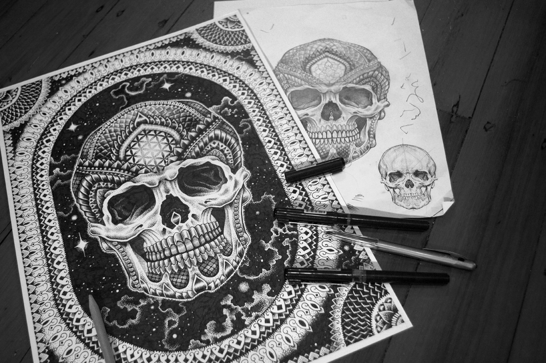 10-Skull-Architects-Tour-Tony-Graystone-Neon-Mystic-Black-and-White-Drawings-www-designstack-co