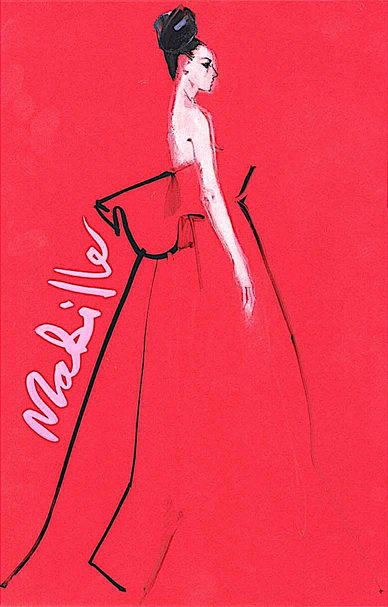 a David Downton fashion illustration, a woman in red evening dress