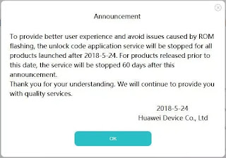 Huawei Bootloader code announcement