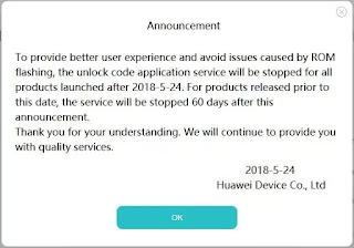 Huawei Bootloader code announcement