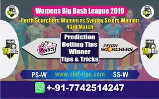 Who will win Today WBBL 2019, 43rd Match Sixer vs Perth, WBBL T20 2019