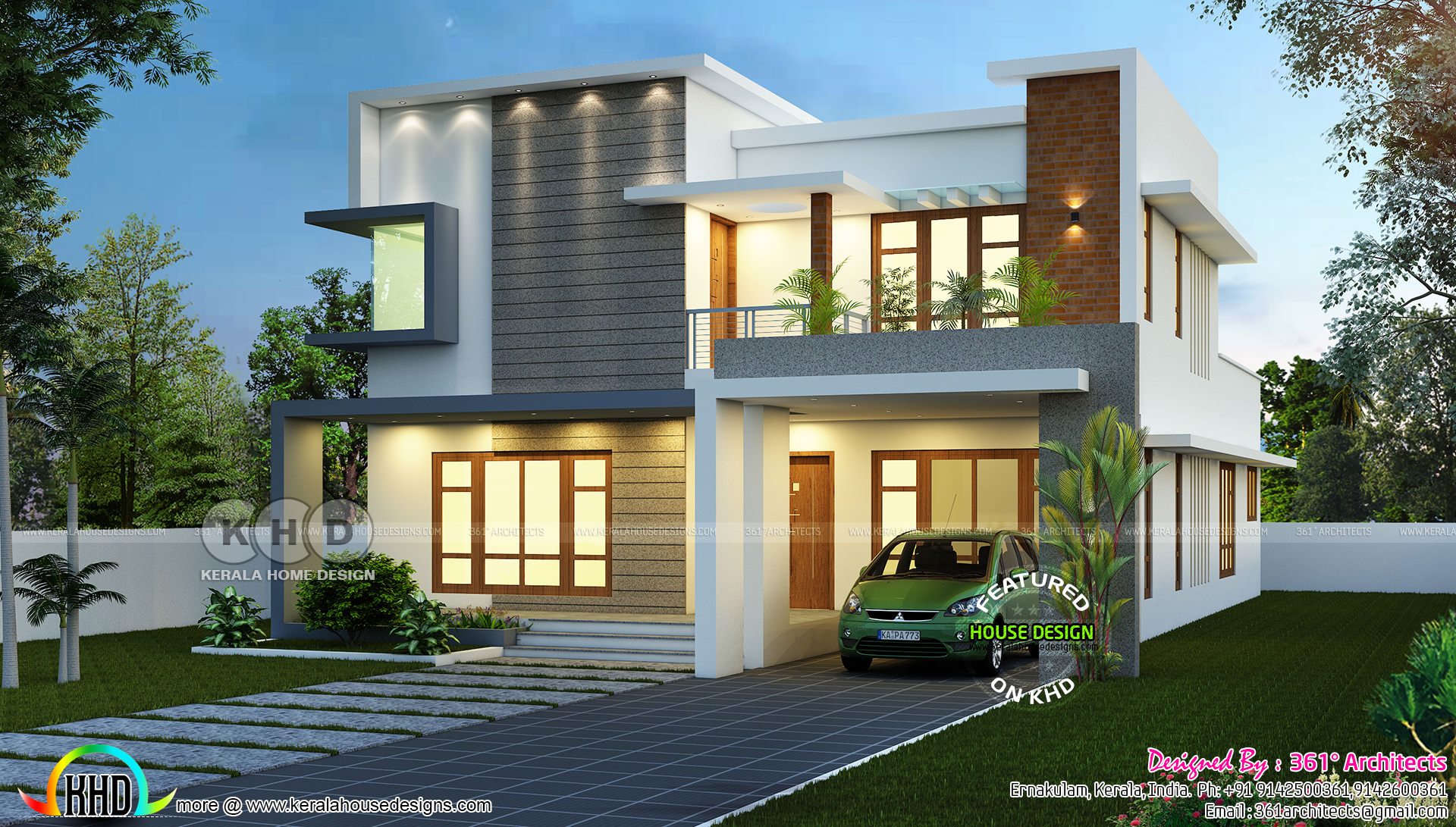 2781 square feet beautiful modern residence kerala home for Modern square house