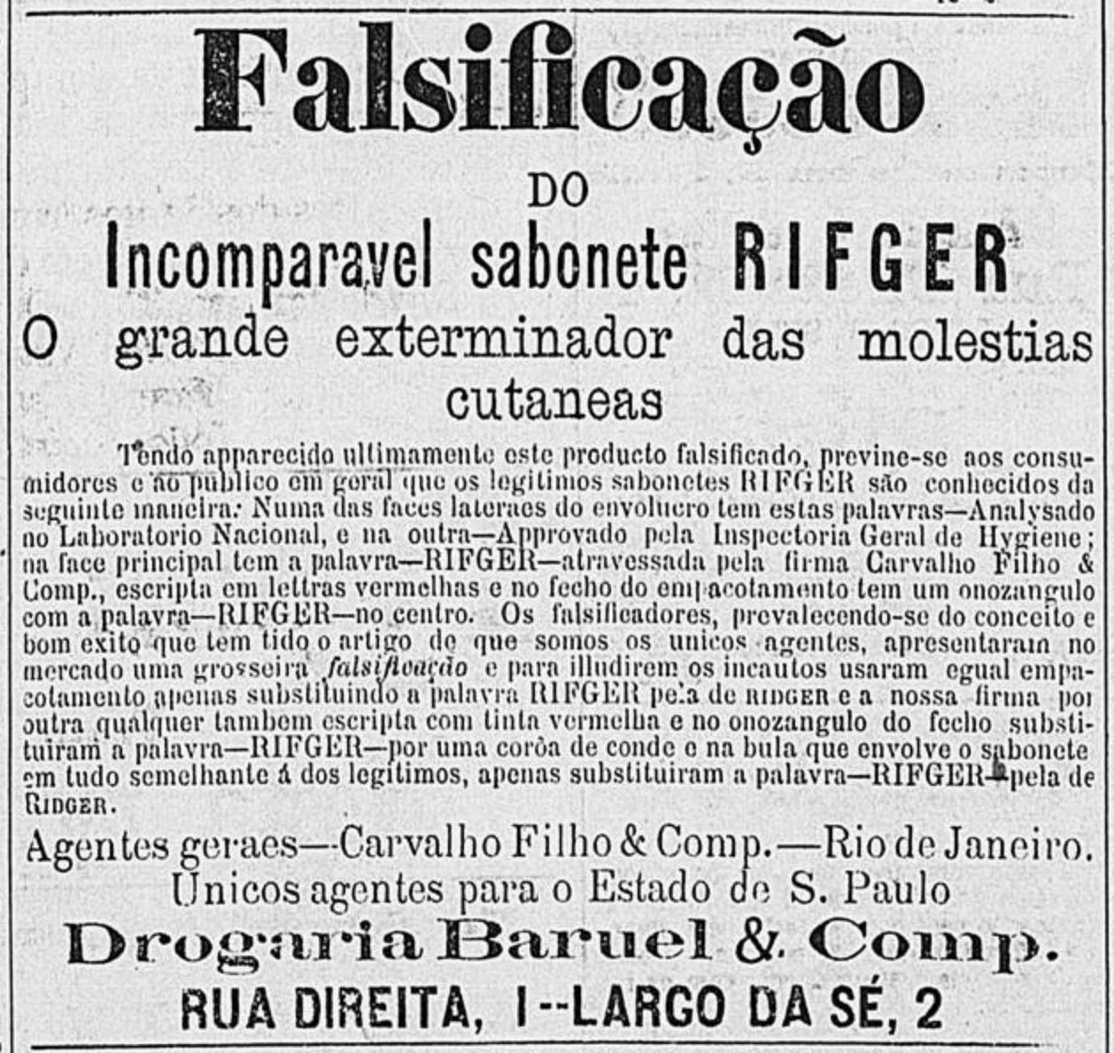 Anúncio de 1895 do Sabonete Rifger que alertava sobre produtos falsificados no mercado