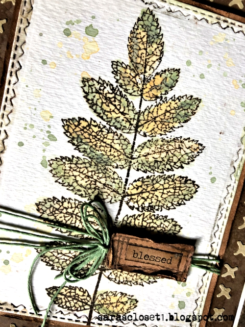 Sara Emily Barker https://sarascloset1.blogspot.com/2019/09/blessed.htmlMixed Media Autumn Card Tim Holtz Stampers Anonymous Pressed Foliage  2
