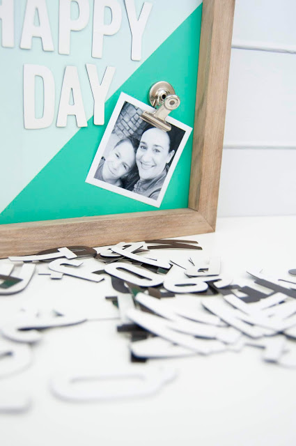 Spray painted magnet board tutorial from www.jengallacher.com #magnetboard #magnets #spraypaint #jengallacher #cratepaper