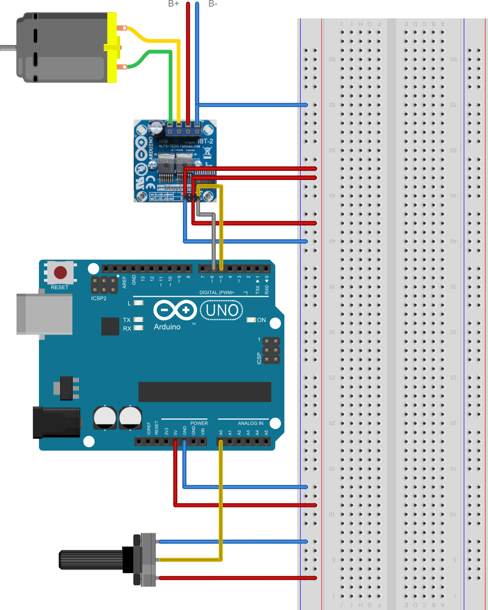 Arduino: Control a DC or stepper motor from a potentiometer