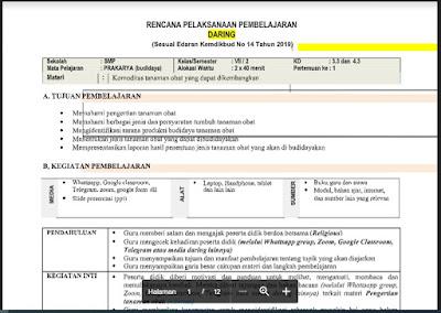 RPP Daring Prakarya Kelas 7 Semester 2/Genap