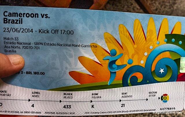 Ingresso para o jogo Brasil x Camarões, Copa do Mundo de 2014, Brasília