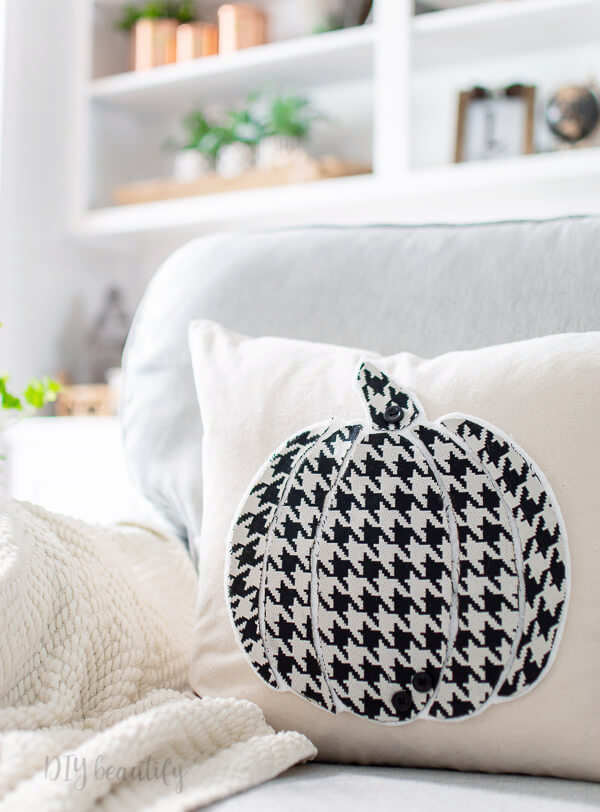 black and white houndstooth pumpkin pillow