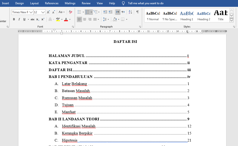 Cara Membuat Titik Pada Daftar Isi Agar Rapi Dengan Microsoft Word
