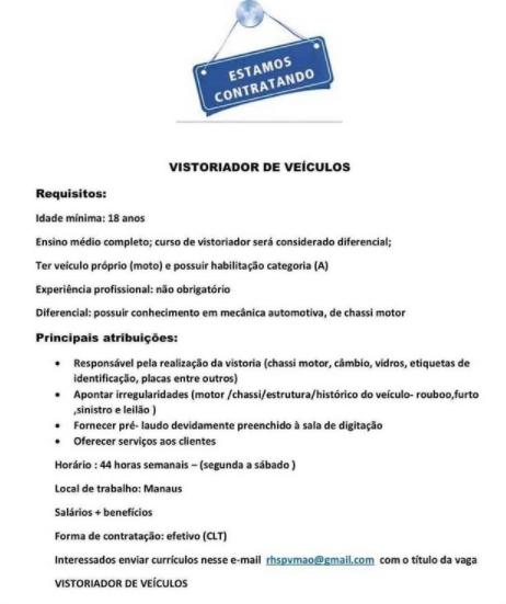 VISTORIADOR DE VEÍCULOS