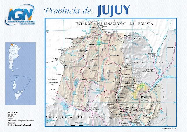 Mapa da província de Jujuy - Argentina