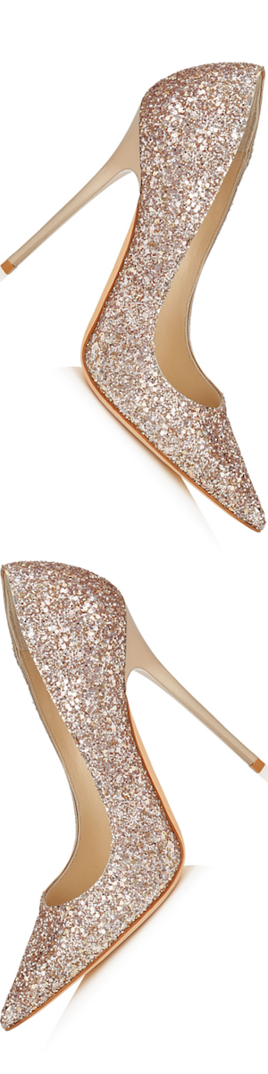 Jimmy Choo Anouk Nude Shadow Coarse Glitter Pumps
