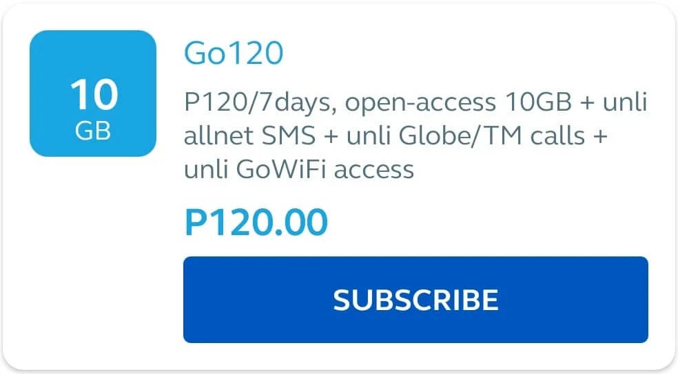 Globe Go120 with 10GB Data All Sites + GoWiFi + Unli Texts + Unli Calls for 7 Days for Only 120 Pesos