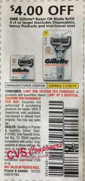 "$4/1 Gillette Razor or Blade Refill Coupon from ""RMN"" insert week of 10/20"