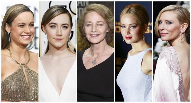 Indicadas ao Oscar 2016 de melhor atriz: Brie Larson ('O Quarto de Jack'), Saoirse Ronan ('Brooklyn'), Charlotte Rampling ('45 Anos'), Jennifer Lawrence ('Joy'), Cate Blanchett ('Carol'). (Foto: Reuters)