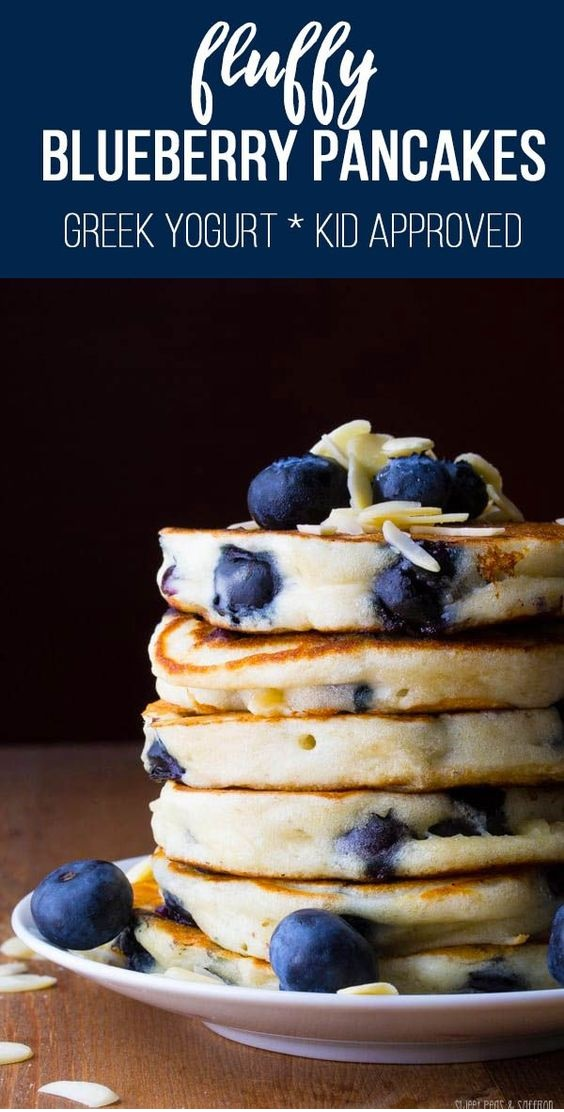 Extra Fluffy Almond Blueberry Pancakes