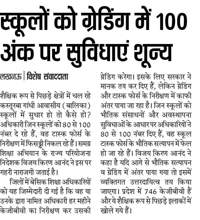 स्कूलों को ग्रेडिंग में 100 अंक पर सुविधाएं है जीरो
