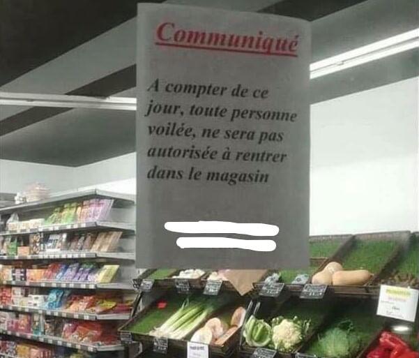 تاجر يمنع المحجبات من دخول متجره بنيم الفرنسية