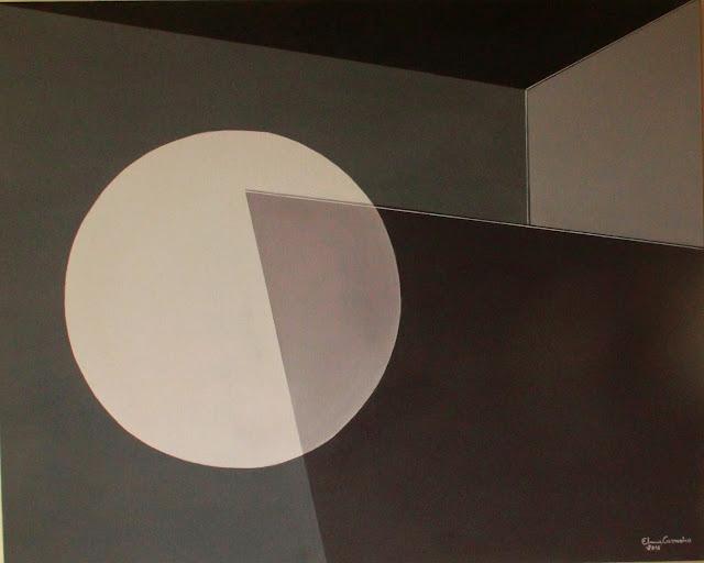 Óleo s/tela - arte geométrica em tonalidades preto e cinza, arte de  Elma Caraneiro