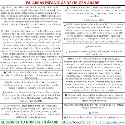 Lass Palabras Españolas de origen arabe