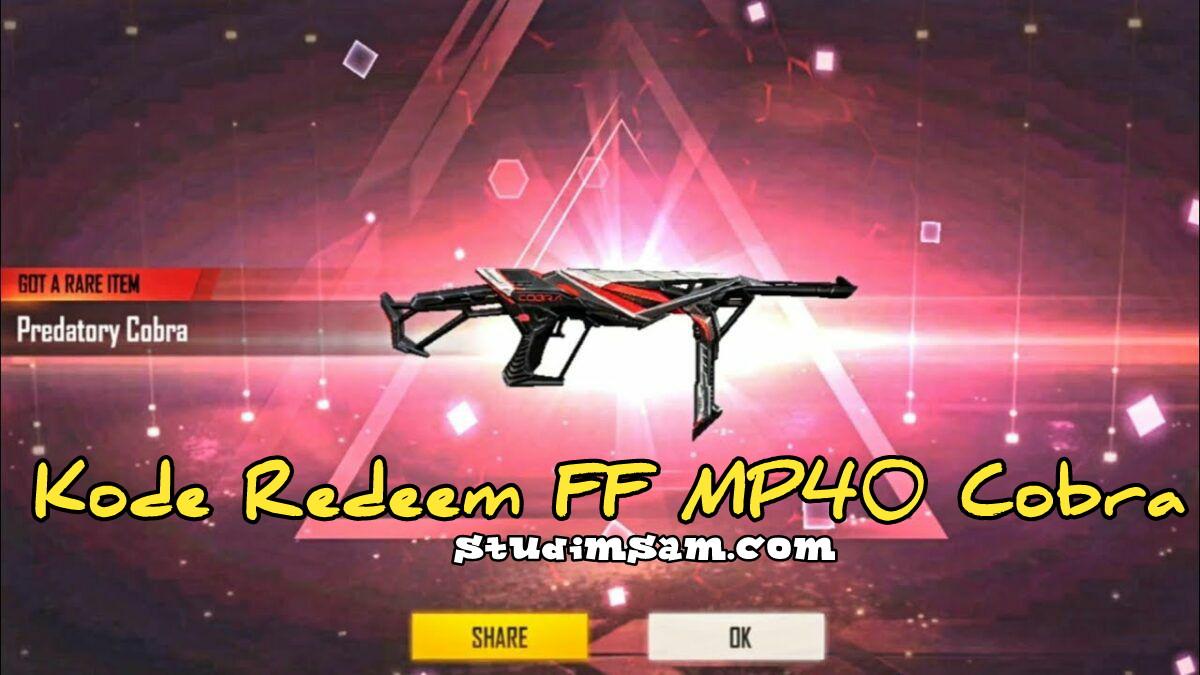 kode redeem ff mp40 cobra