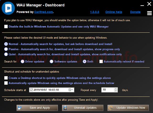 WAU Manager schermata iniziale delle opzioni di configurazione