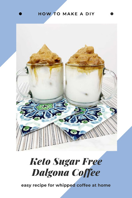 How to make keto dalgona coffee drinks at home. This iced recipes low carb is for whipped coffee the latest TikToK trend. Make an easy whipped keto coffee recipes at home. Make it vegan or dairy free with almond milk or coconut milk. Use sugar free flavored syrup or coconut sugar or monk fruit for a sweetener. This DIY recipes easy can be made in just a minutes! #dalgona #coffee #keto #sugarfree
