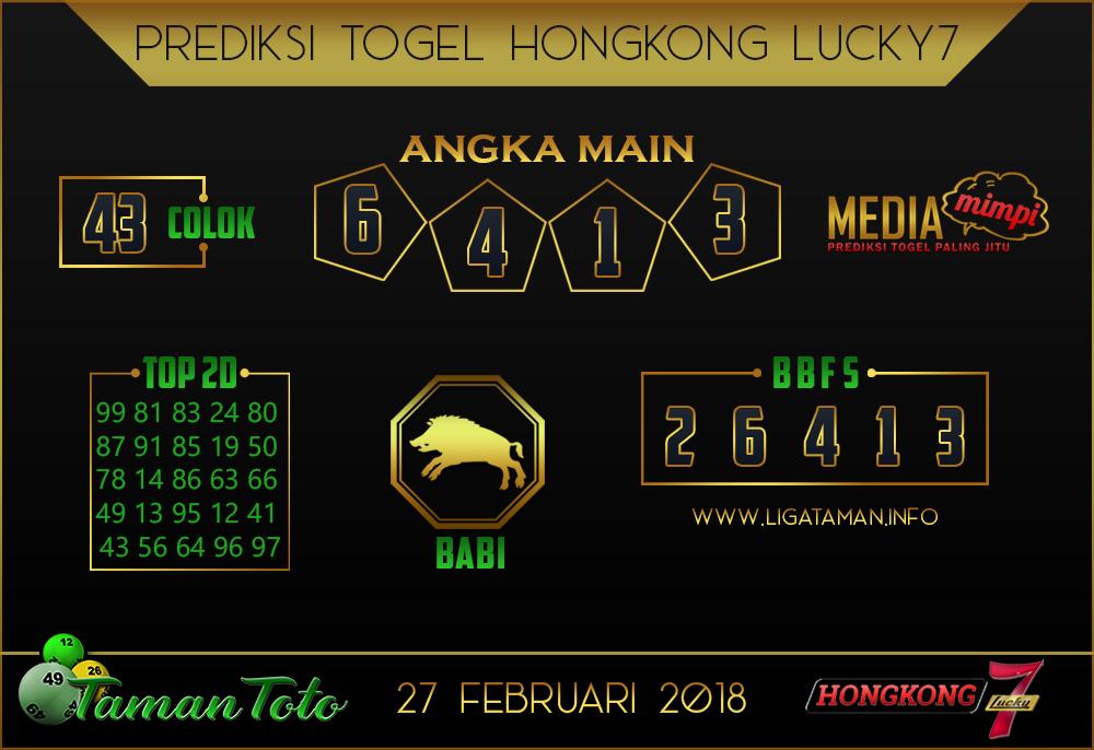 Prediksi Togel HONGKONG LUCKY 7 TAMAN TOTO 27 FEBRUARI 2019